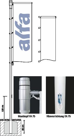 Fahnenmast-System alfa ZA 75