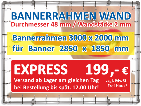 Alu-Bannerrahmen Wandmontage EXPRESS Rahmen 3,0 x 2,0 m // Banner 2,85 x 1,85 m thumbnail