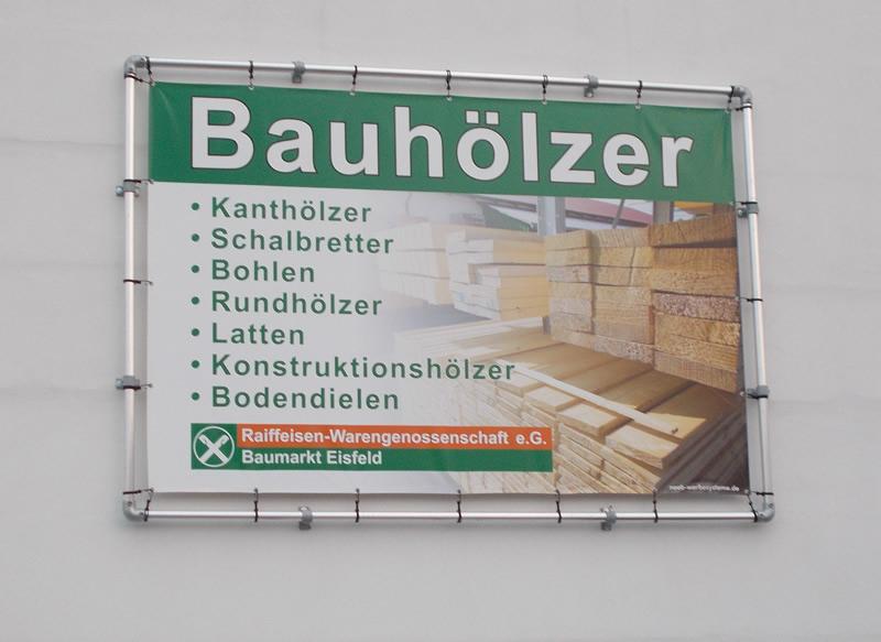 Alu Bannerrahmen Stecksystem Wandmontage 3150 x 2150 mm mit PVC-Frontlit Banner 3 x 2 m