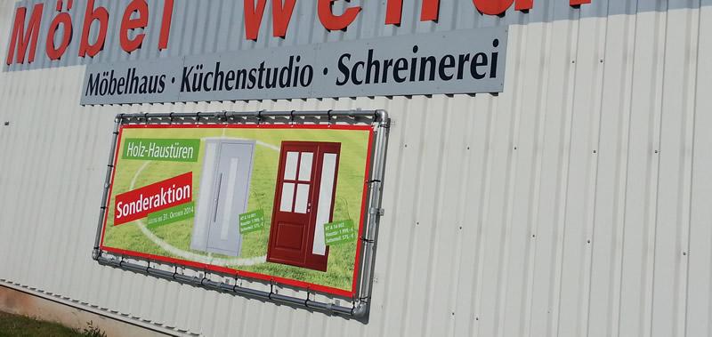 Bannerrahmenstecksystem Wandmontage & Werbebanner Druck - Möbel Wendler