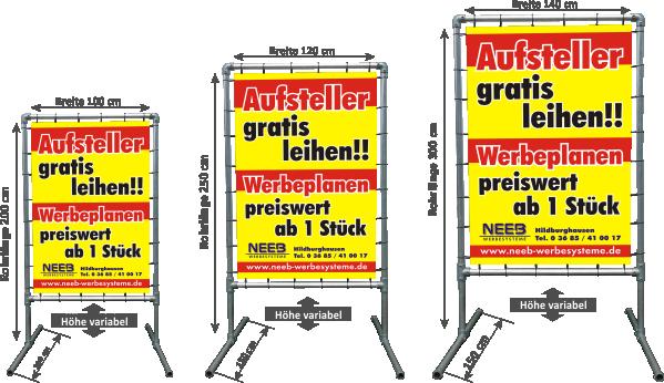 """Bannerrahmen Aufsteller """"Hoch"""" - Spannbannergestell im Aufstellerformat"""