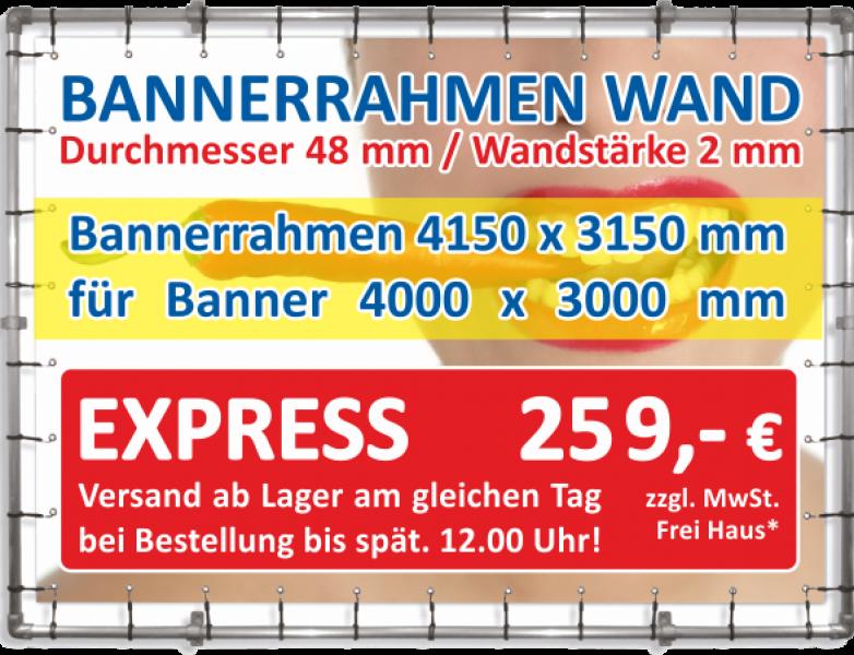 Bannerrahmen Wandmontage 4150 x 3150 und Spannbanner 4000 x 3000 mm