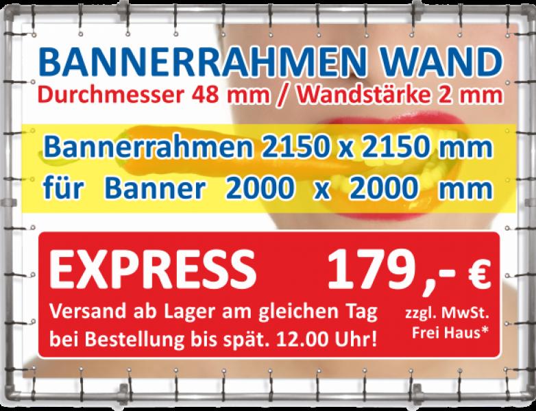Alu Bannerrahmen Wandmontage 2150 x 2150 mm für Banner 2000 x 2000 mm