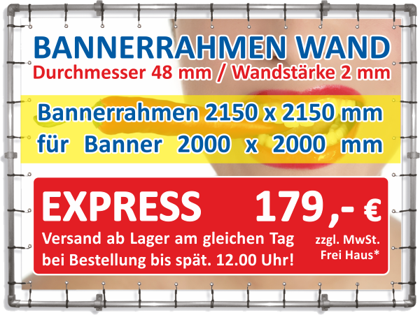 alu bannerrahmen wandmontage express rahmen 2 15 x 2 15 m banner 2 0 x 2 0 m neeb. Black Bedroom Furniture Sets. Home Design Ideas