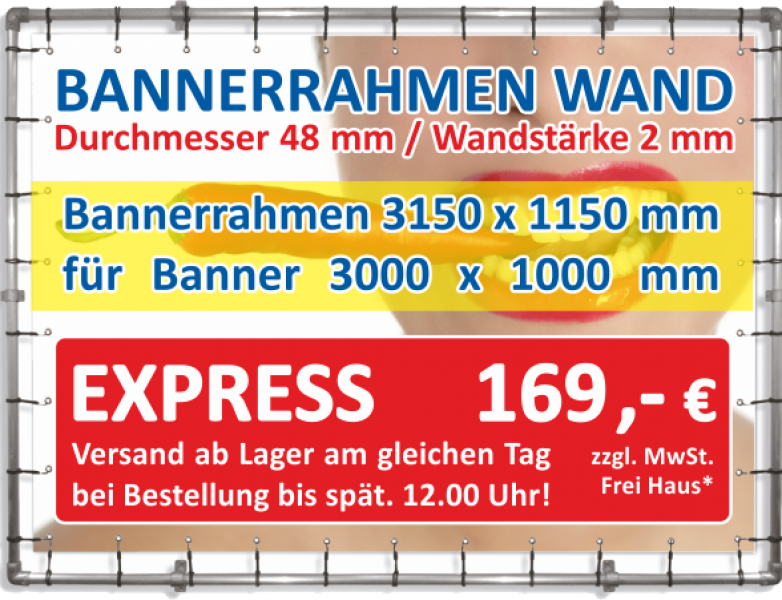 Alu Bannerrahmen Wandmontage 3150 x 1150 mm für Banner 3000 x 1000 mm