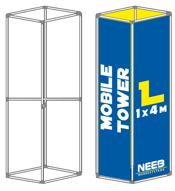 Bannerrahmen Stecksystem Werbeturm Mobile-Tower Größe L