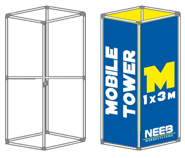 Bannerrahmen Stecksystem Werbeturm Mobile-Tower Größe M