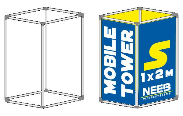 Bannerrahmen Stecksystem Werbeturm Mobile-Tower Größe S