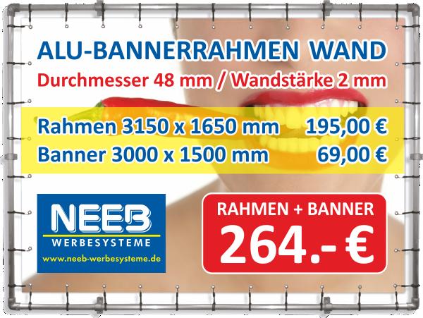 Bannerrahmen Wandmontage 3150 x 1650 und Spannbanner 3000 x 1500 mm