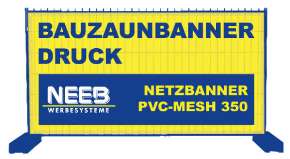Bauzaunbanner Druck Gitternetzplane PVC-Mesh 350 Premium B1
