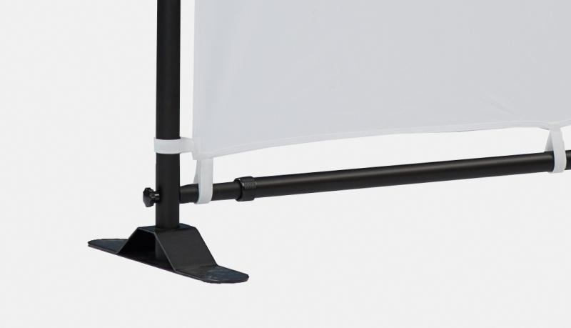 Teleskopspannrahmen schwarz - Bannerbefestigung / Standfuß unten