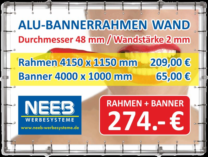 Bannerrahmen Wandmontage 4,15 x 1,15 Banner 4 x 1 m