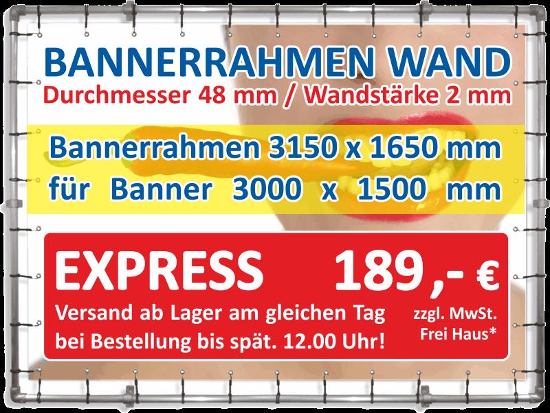 Bannerrahmen Wandmontage 3150×1650 mm