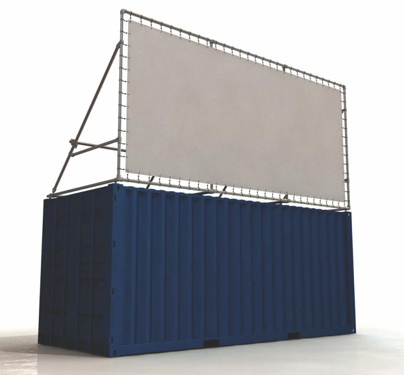 Container Banner Rahmen 20 Fuß Seecontainer für Lange Seite oben bündig