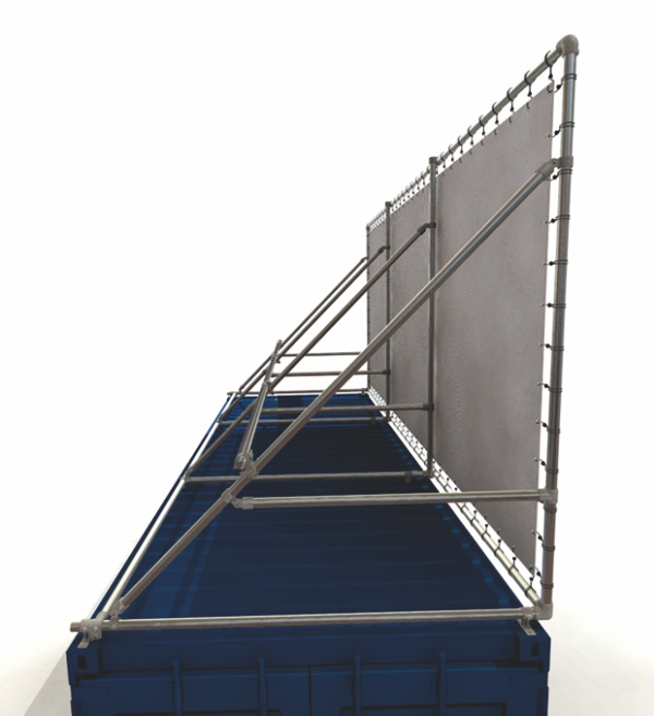Container Banner Rahmen für 20 Fuß Seecontainer - Lange seite oben bündig auf Container Detail